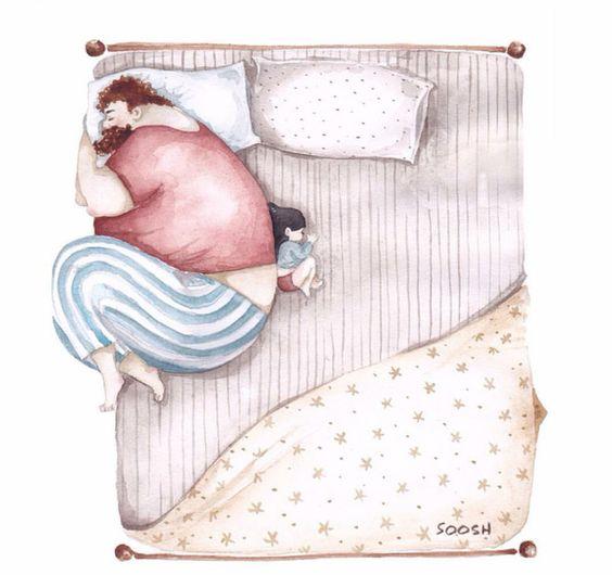 Tranh ba ngủ cùng con gái