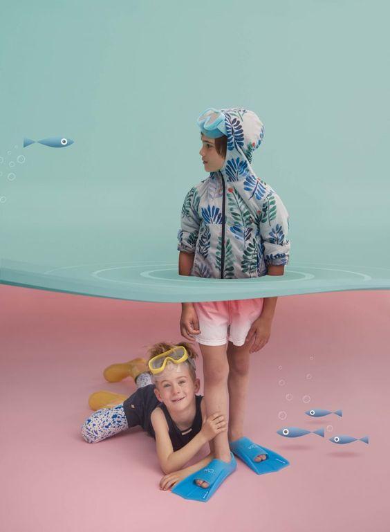 bé chụp ảnh hóa trang dưới nước